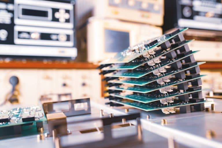 Close-up green computer microcircuits
